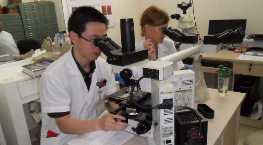 Two Medicine interns use microscopes at a workshop during their medical internship in China.